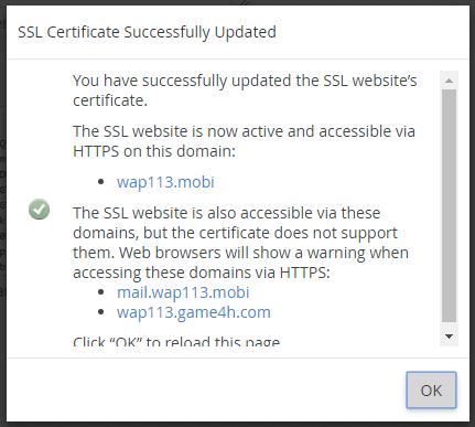 Cài đặt SSL thành công