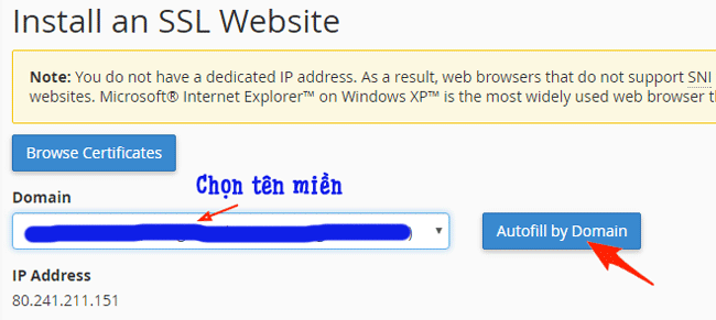 Cài đặt SSL trong cPanel