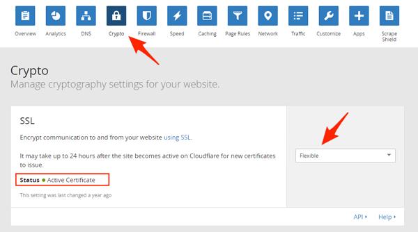 Kích hoạt SSL của Cloudflare