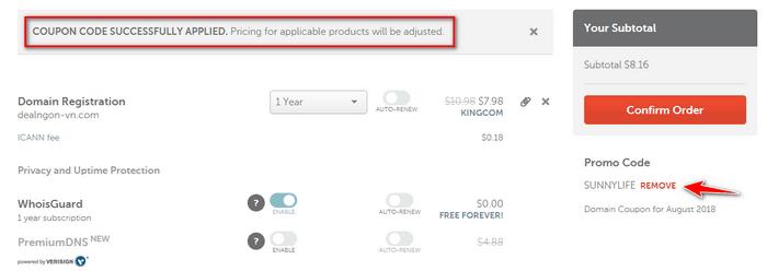 Mã giảm giá còn hạn tại Namecheap