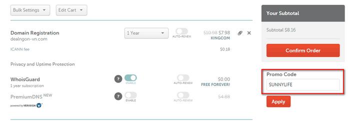 Nhập mã giảm giá tại Namecheap