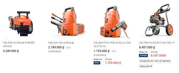 Giá máy rửa xe gia đình