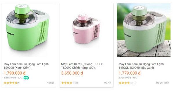 Giá thành máy làm kem