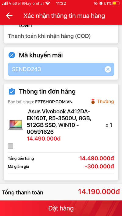 Nhập mã giảm giá trên Sendo App